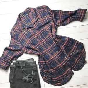 LUCKY BRAND- Split Back Flannel Button Down Top